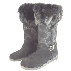 Coach DEEANN Signature Embossed Fur Boots